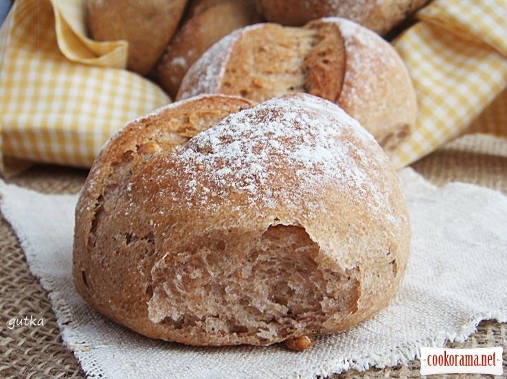 Булочки пшенично-гречневые с грецкими орехами и медом