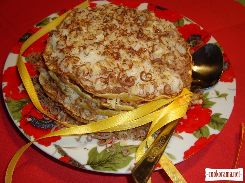 Манный десерт с блинами