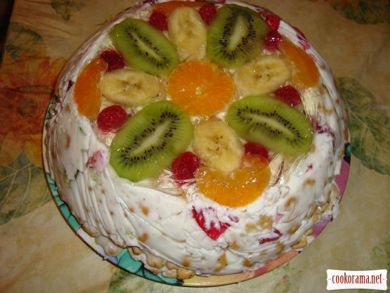 Фруктовый торт желе без выпечки