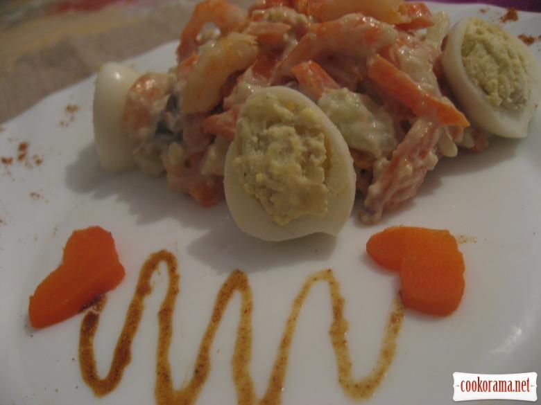 Салат «Вечір» з фаршированими перепелиними яйцями