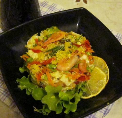 Овощной салат с креветками