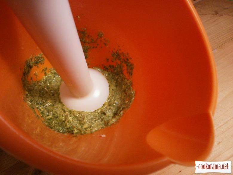 зелений соус змішати з вершковим маслом