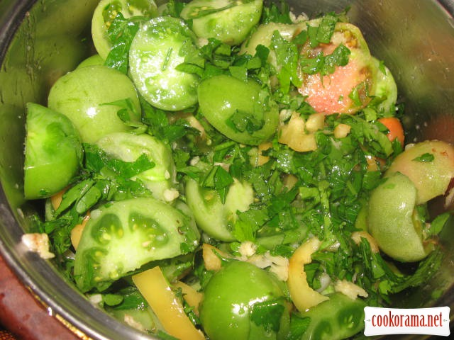 Green tomatoes in Korean style