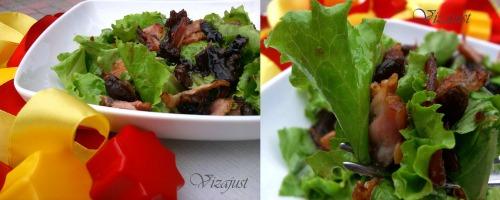Салат з беконом під фініковим соусом - Ensalada de canónigos de beicon con vinagreta de dátiles