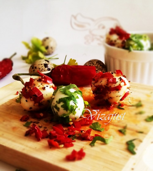 Marinated quail eggs
