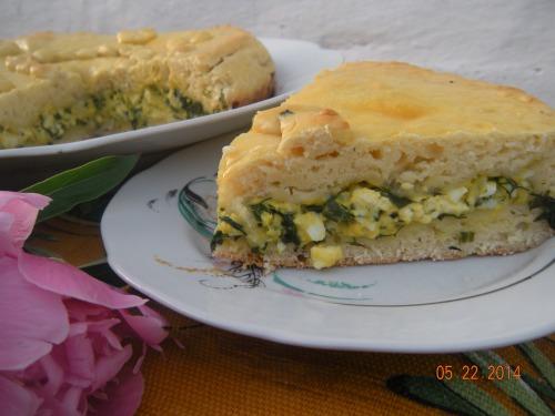 Пиріг зі шпинатом, сиром та яйцем