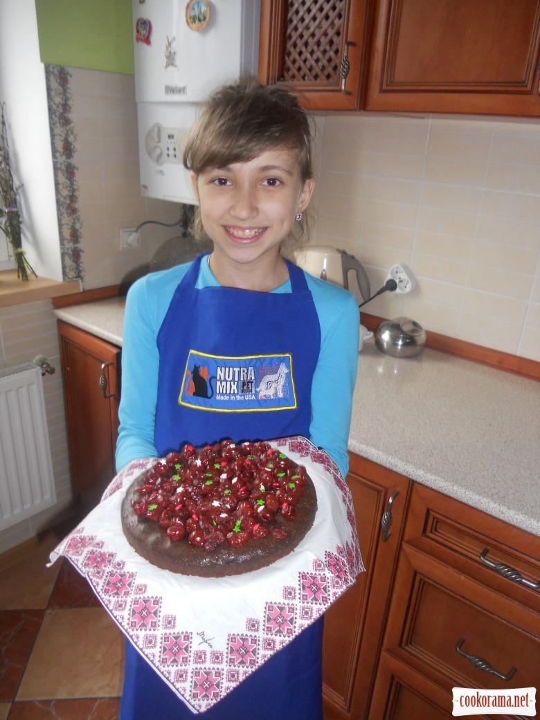 Шоколадний пиріг з вишнями