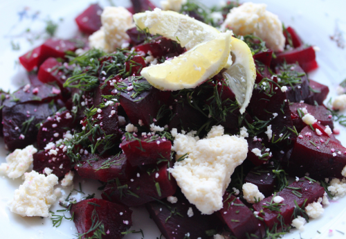 Beets with goat cheese and dill
