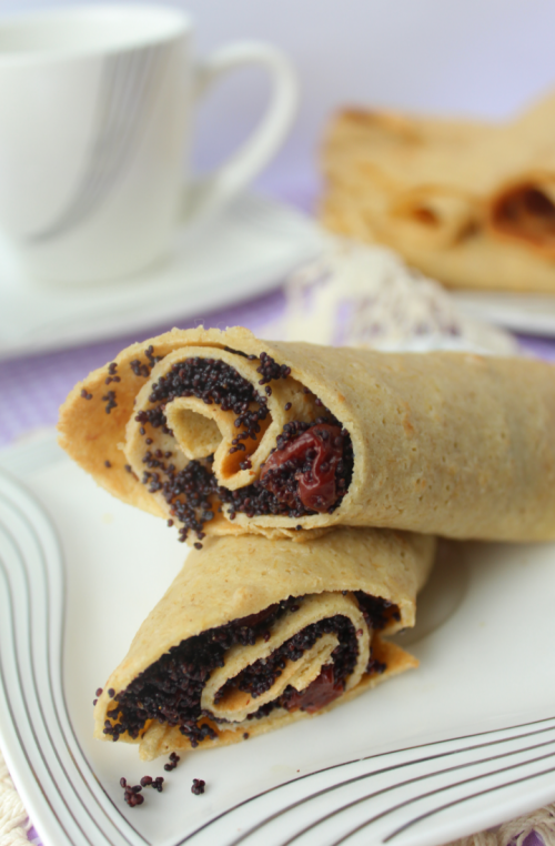 Gentle oatmeal pancakes with cherry-poppy stuffing