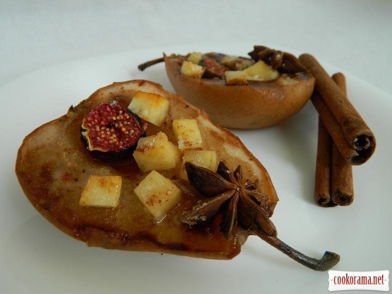 Запеченные груши с брынзой и инжиром