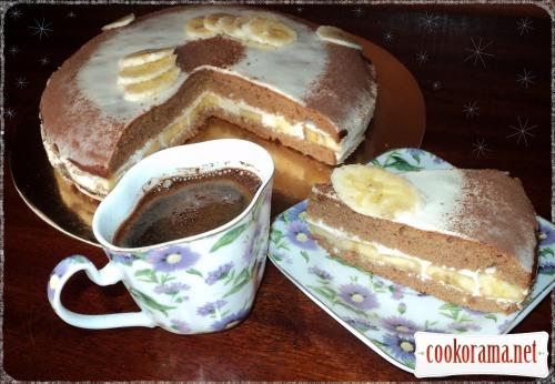Шоколадно-банановий торт