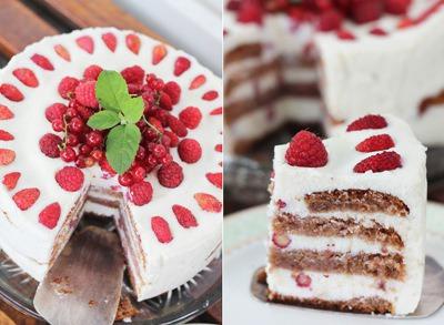 Малиновий торт з сирним кремом-суфле