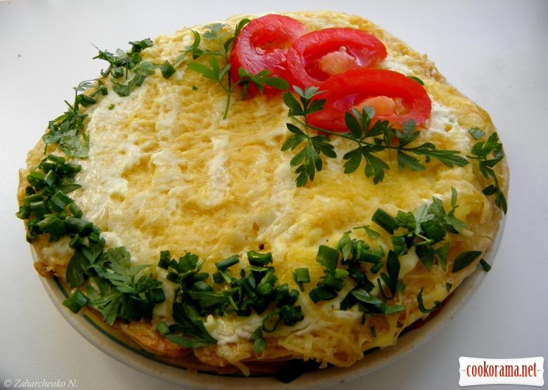 Закусочний «Наполеон» з грибами, куркою та помідорами