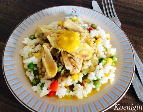 Крила індички з соусом каррі і овочевим рисом