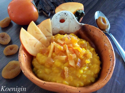 Pumpkin porridge with rice, dried apricots and persimmon