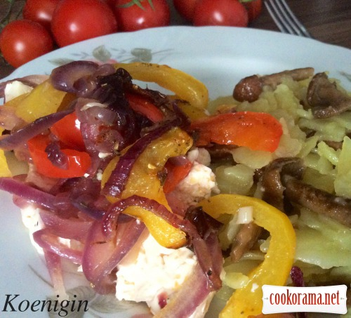 Warm appetizer of brynza with vegetables