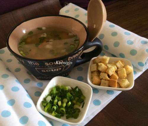 Lean pickle soup with homemade croutons
