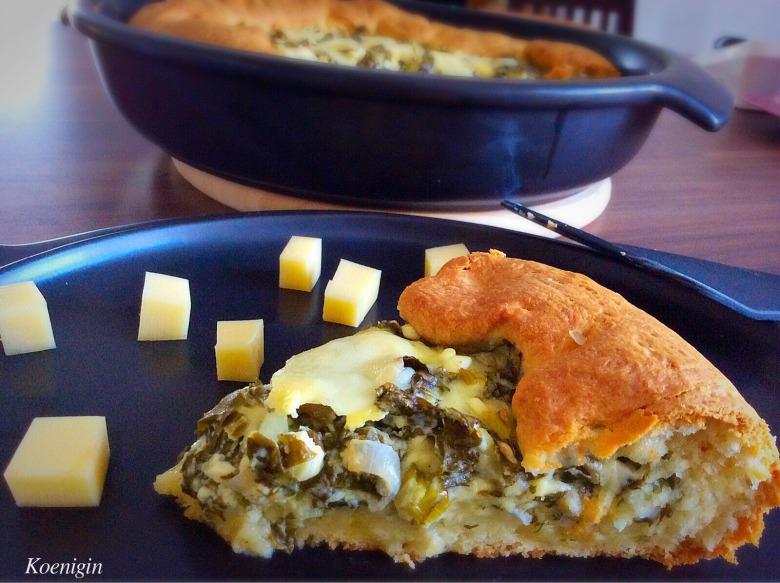 Відкритий пиріг зі щавелю з сиром