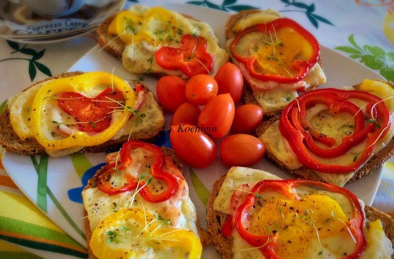 Гарячі бутерброди з солодким перцем і сиром