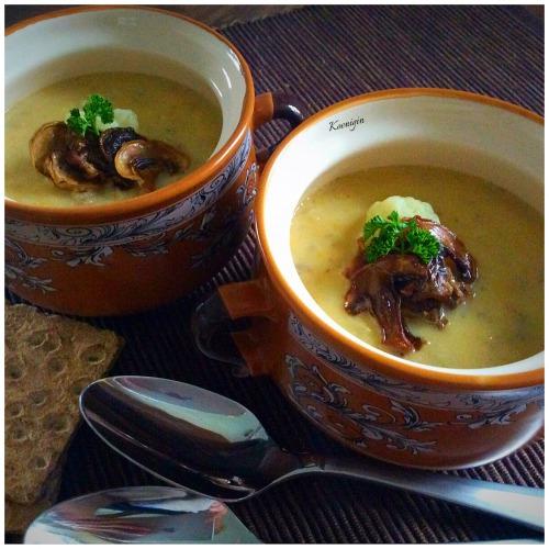 Капустный суп-пюре с сушенымы грибами