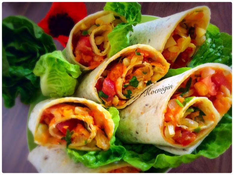 Тортилья (лаваш) с овощами