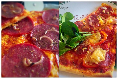 Salamipizza / Піца з салямі, червоною цибулею і солодким перцем