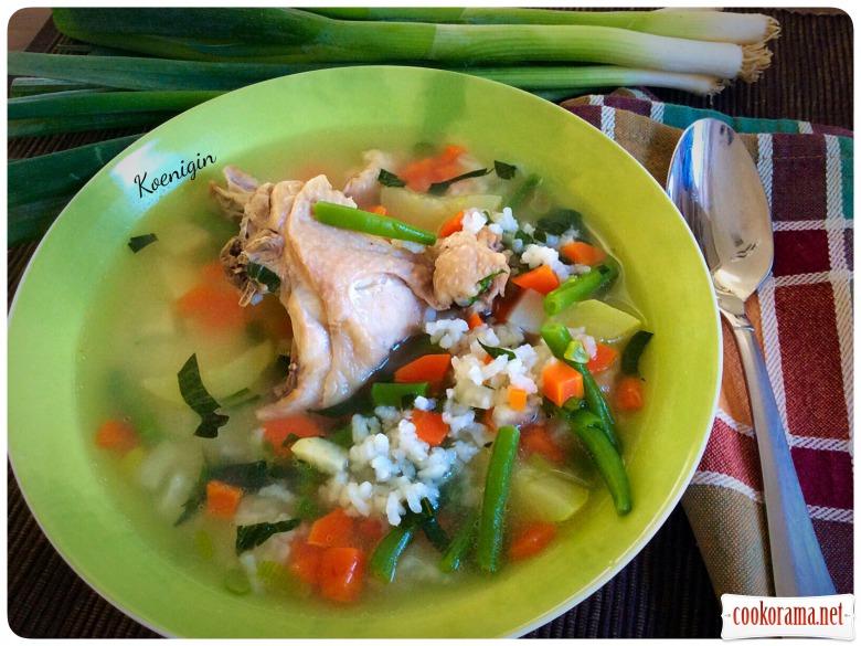 Курячий суп з рисом і овочами