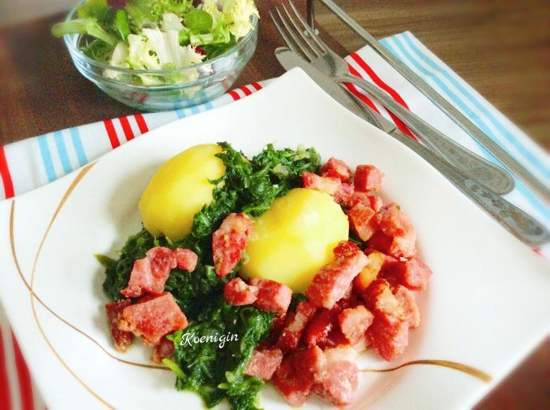 Копчена корейка зі шпинатом і картоплею
