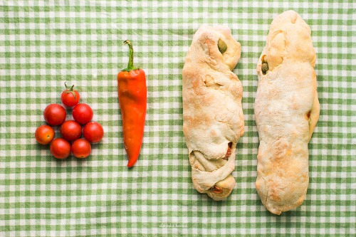Ciabatta with olives and tomatoes