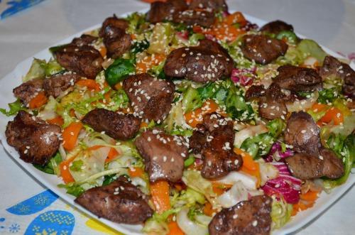Салат з печінкою та гарбузом