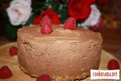 A chocolate curd fritter with liqueur without baking or cheesecake (chocolate cheesecake)