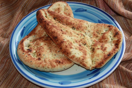 Indian bread naan with garlic and coriander