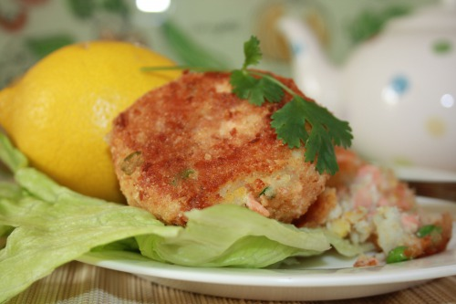 Fish cakes with cheese and greens