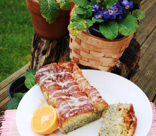Lemon-poppy cake on condensed milk