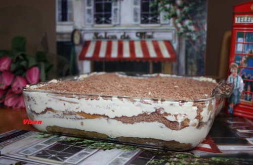 Tiramisu on custard (without raw eggs)