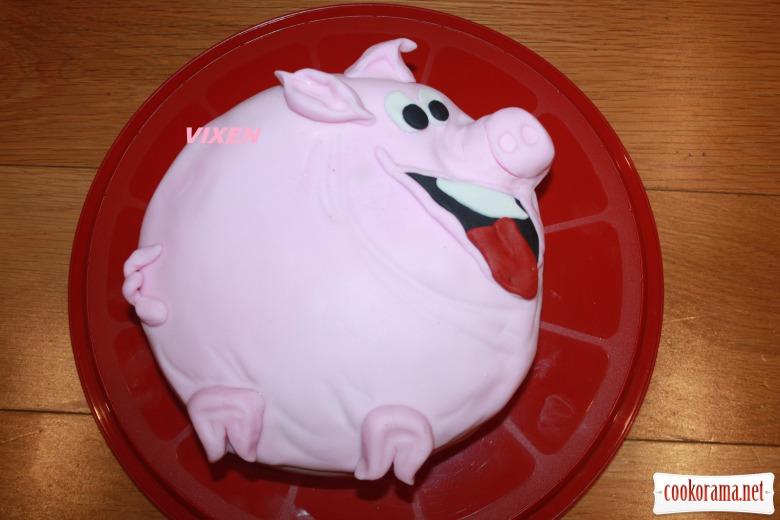 Торт «Весела свинка» (кофейно-горіховий з абрикосовим мармеладом)