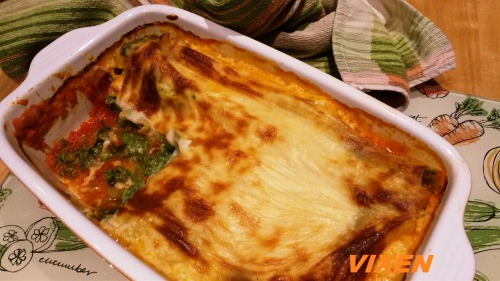 Cannelloni stuffed with spinach and cheese
