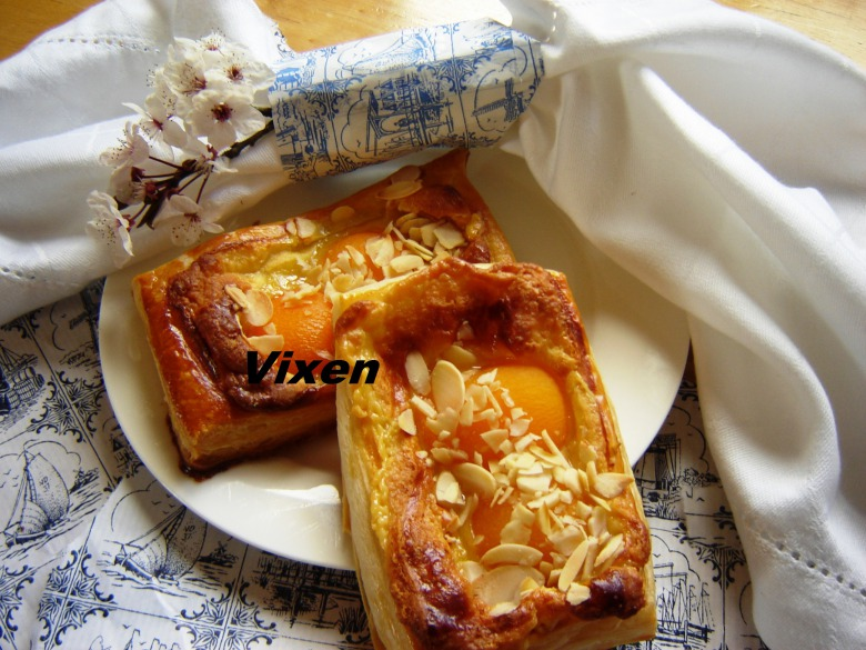 Puffs with apricot and marzipan or famous Danish pastry