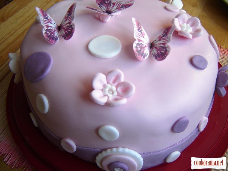Торт «Метелики» (шоколадний бісквіт з малиновим мусом, зефіром та білим шоколадним ганашем)