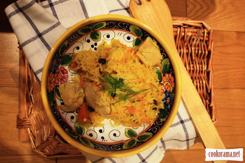 Рис «pilau» з куркою, сухофруктами  та прянощами