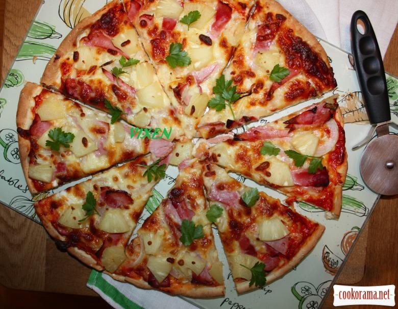 Хрумка Піца з шинкою та ананасами ( + рецепт тіста, яке не потребує часу для «підростання»)