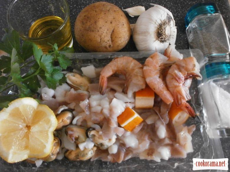 Салат с морепродуктами без майонеза
