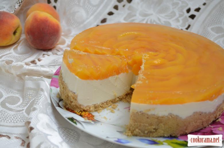 Сирний чізкейк з персиками