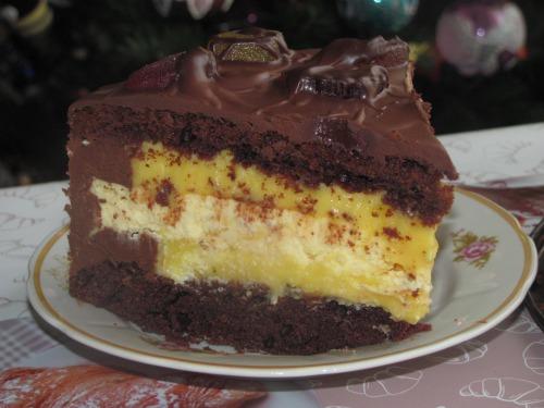 Торт з обліпиховим кремом та чізкейком