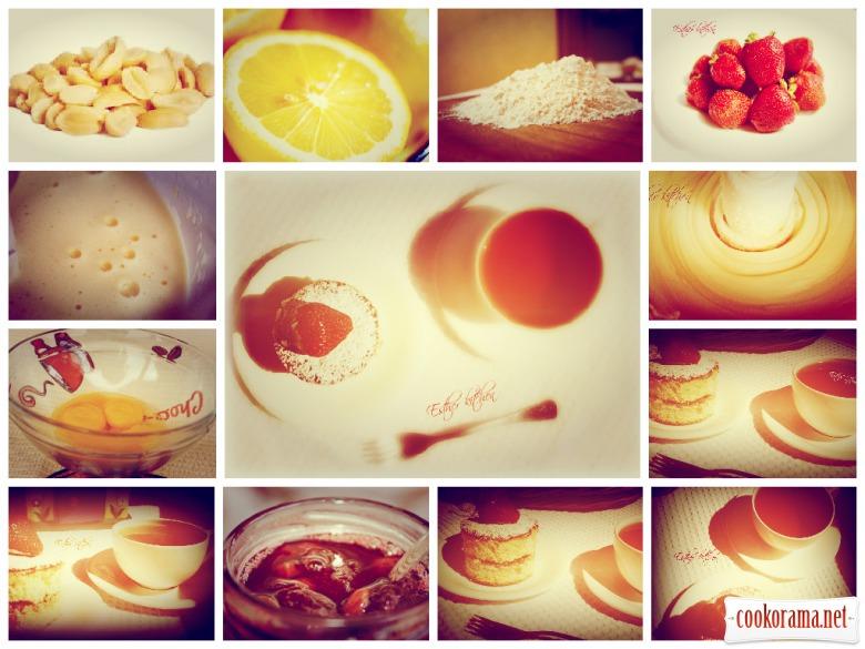 Бисквитный мини-тортик с орехово-лимонной пыльцой