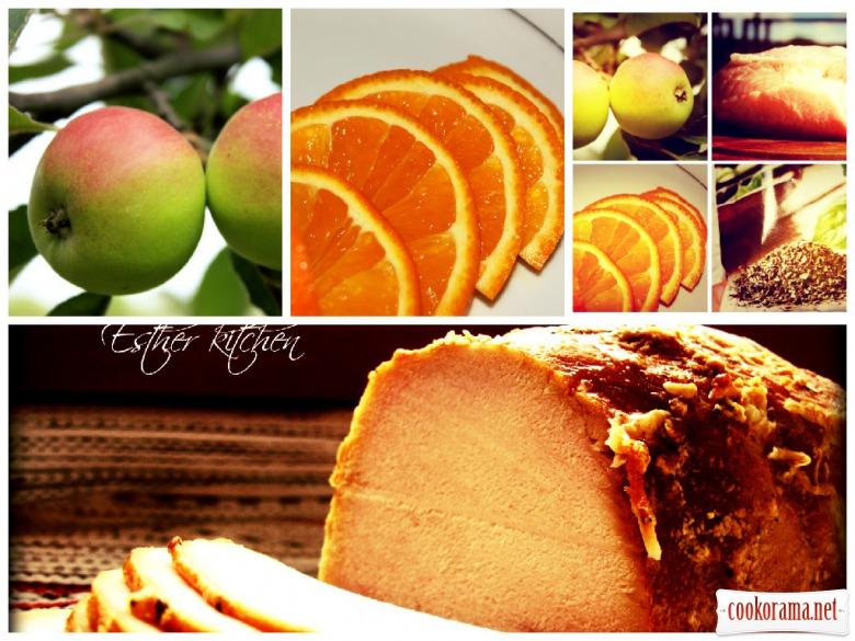 Запечене м'ясо в яблучно-апельсиновому соусі.