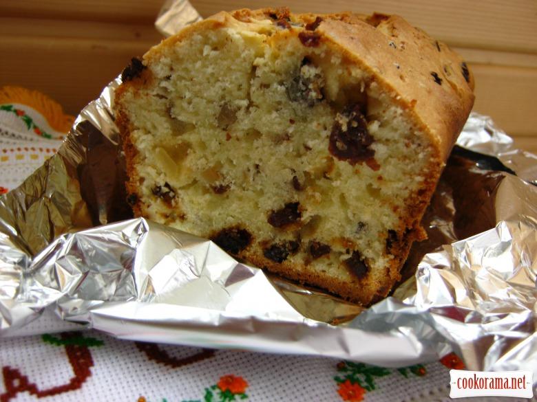 Сирний кекс з шоколадом, горіхами та сухофруктами