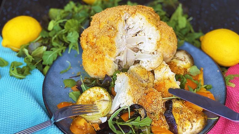 Осіння насолода - Запечена цвітна капуста в сухарях з хрусткою скоринкою і смачними овочами