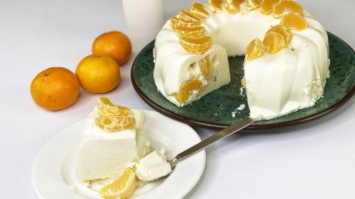 На швидку руку та без духовки - Сирний торт з мандаринами - Дуже ніжно і смачно!