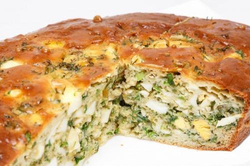 Пісний заливний пиріг з капустою на кефірі